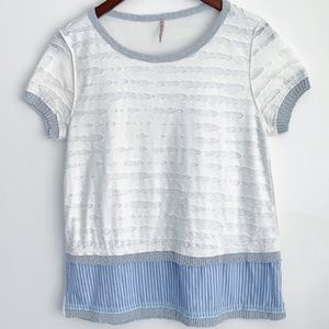 Pete anthropologie blue and white top S